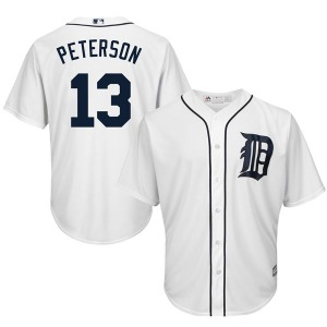 Men's Majestic Detroit Tigers Dustin Peterson White Cool Base Home Jersey - Replica