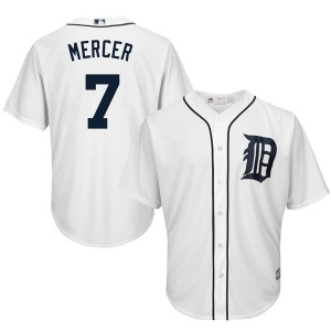 Youth Majestic Detroit Tigers Jordy Mercer White Cool Base Home Jersey - Replica